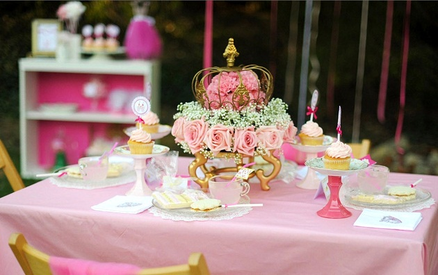 pink princess tea party tablescape outdoors