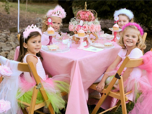 pink princess tea party little girls at table
