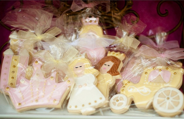pink princess tea party decorated cookie favors