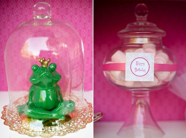pink princess tea party decorating ideas, frog prince decor