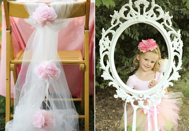 pink princess tea party photo frame and chair decor