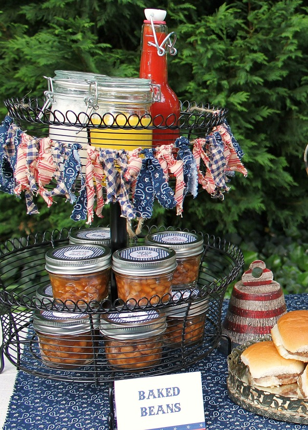 baked beans and condiments for a cookout