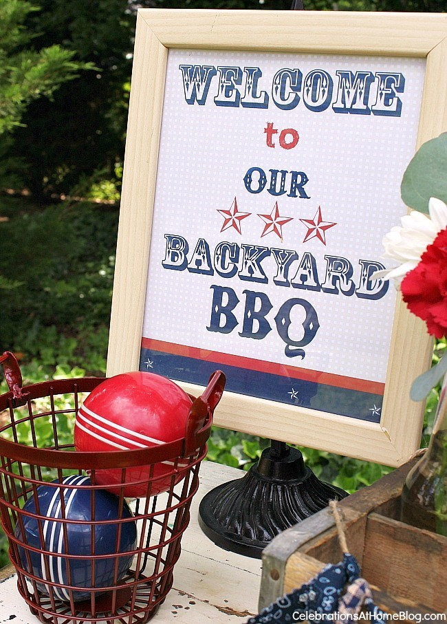 FREE printable sign - Set up a welcome table for your summer bbq.