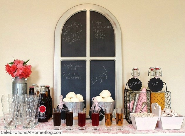 set up an ice cream soda bar