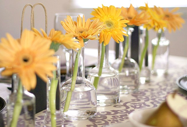 row of flowers centerpiece