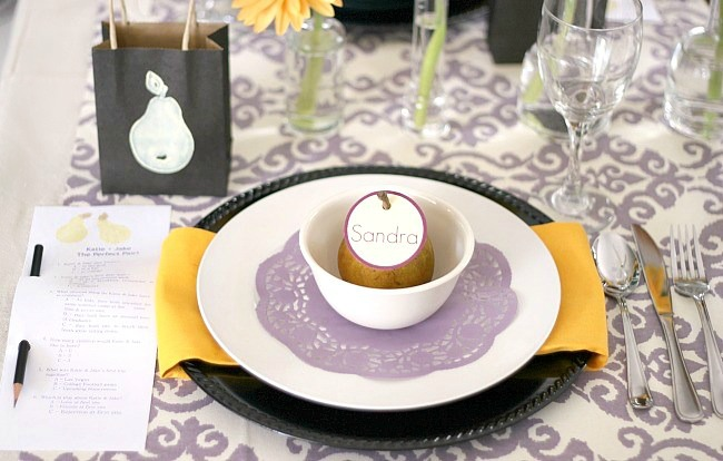 Perfect Pear engagement party place setting