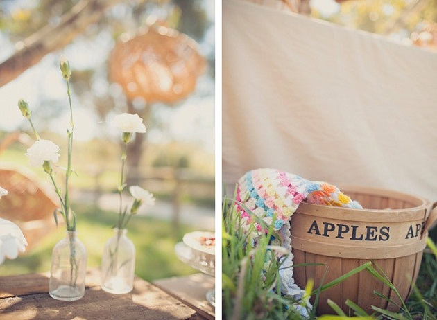 picnic with apple basket and flowers in bottles