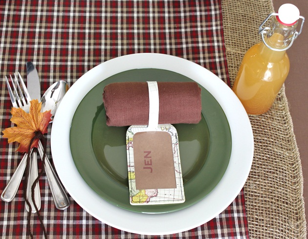 fall travel theme place settings