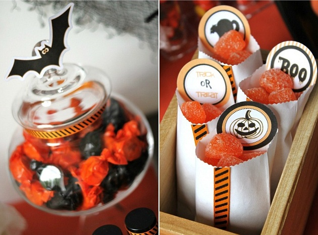 A kids Halloween treats table for a Halloween party. Halloween party ideas before you trick-or-treat. Halloween dessert table ideas.