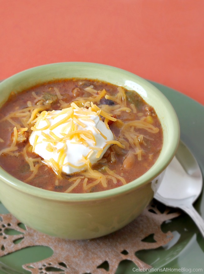 This fiesta chili recipe is the perfect dish to warm you from the inside, out. Easy to make in the slow cooker, dinner will be ready when you get home from work.