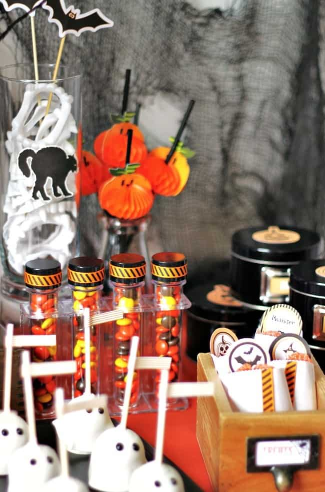 A kids Halloween treats table for a Halloween party