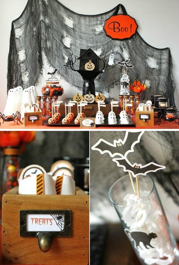 kids Halloween treats table, decoration ideas