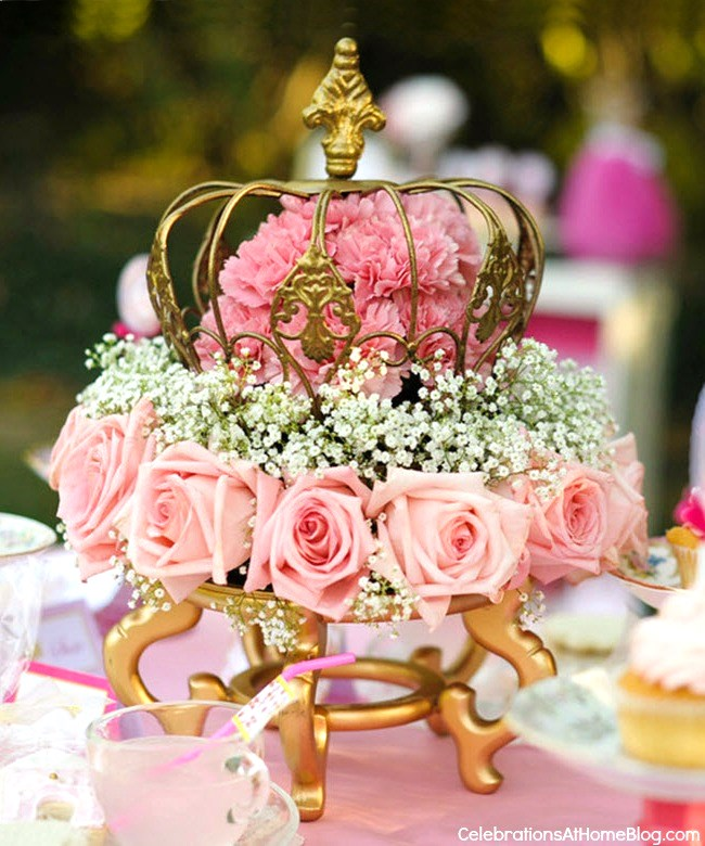 pink princess tea party diy flower centerpiece