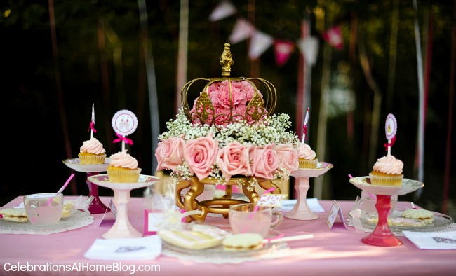 pink princess tea party tablescape
