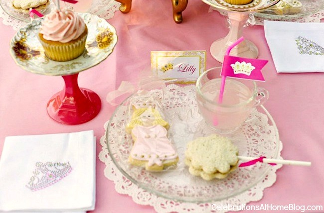 pink princess tea party place setting
