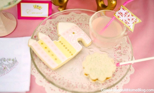 pink princess tea party food snacks on plate