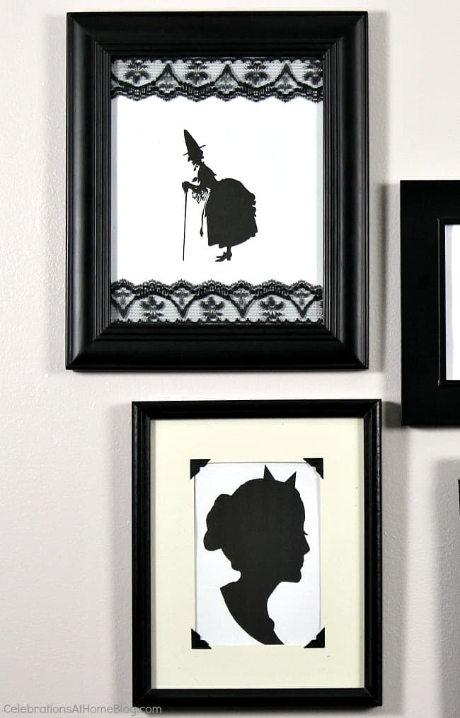 Hang a Halloween framed silhouette wall for spooky decor in your entry hall or party space. This diy gallery wall has a spooky twist.