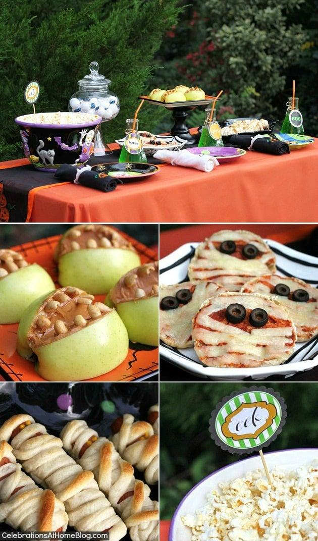 This Halloween costume party has Halloween themed food ideas for the children. Feed the kids before trick-or-treating.