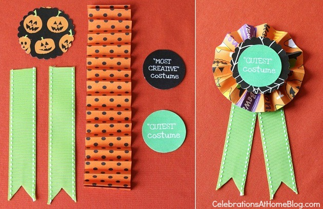 See Halloween themed food and DIY costume party ribbons here.