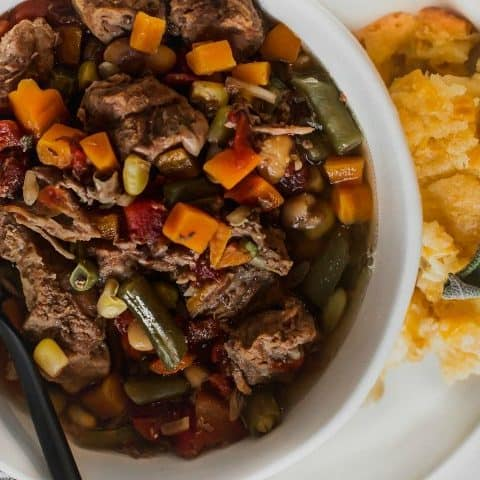 slow cooker vegetable beef soup recipe card