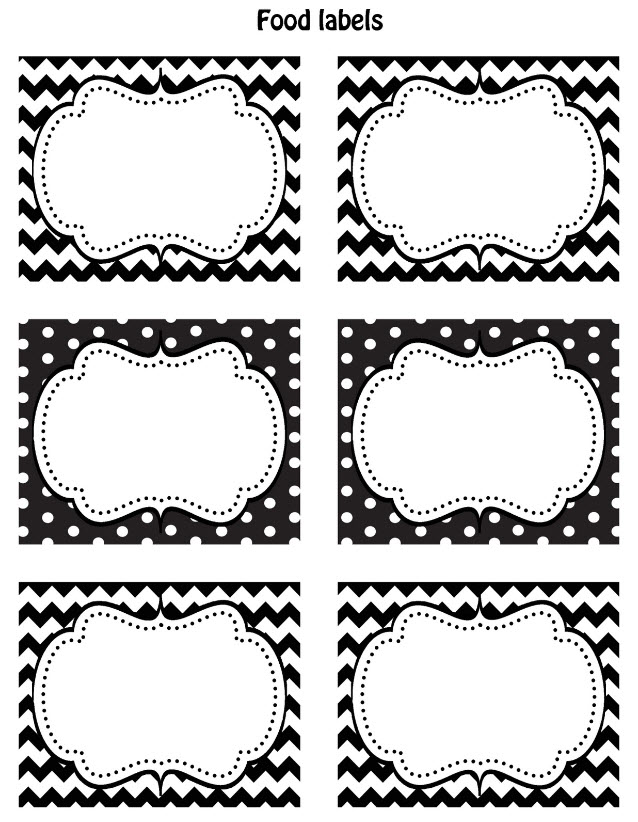 graphic relating to Free Printable Buffet Food Labels titled Cost-free Black White Printable Labels - Celebrations at Residence