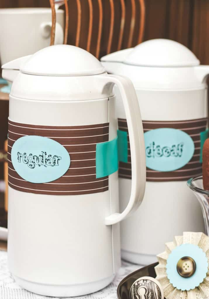 regular and decaf coffee pitchers