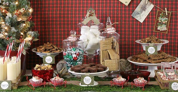 Rustic Woodland Christmas Treats Table