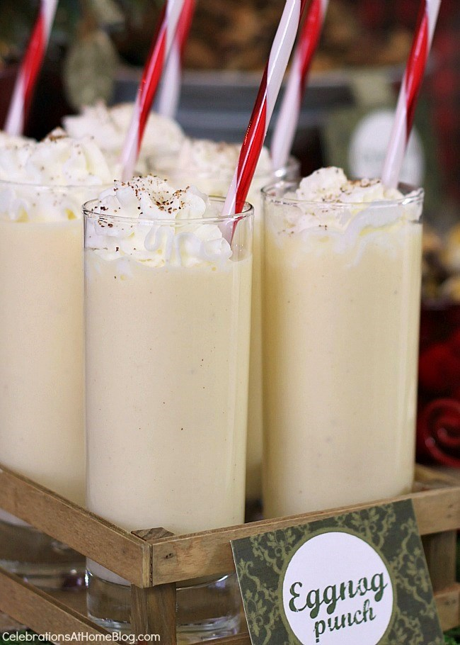 This eggnog punch recipe is so easy but tastes so festive. Get the recipe here