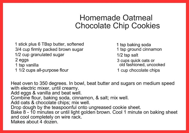 Make this delicious homemade Oatmeal Chocolate Chip cookie recipe and give them as gifts for the holiday, or for a holiday cookie exchange party.