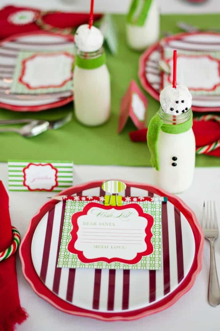 kids Christmas table place setting
