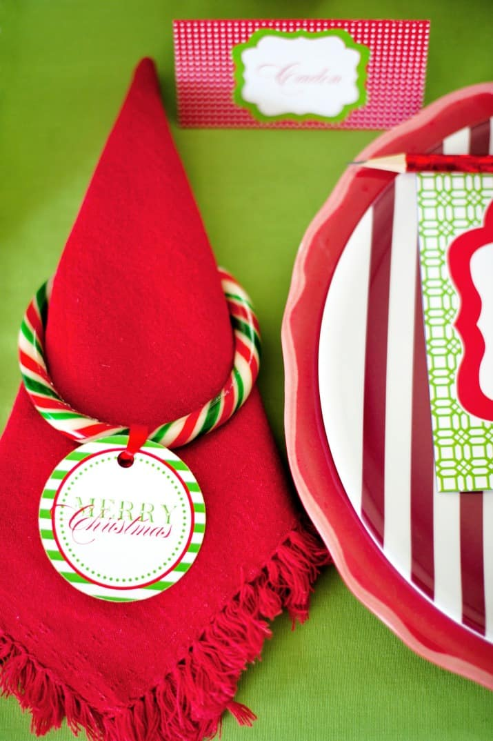 kids Christmas table red napkin with candy napkin ring