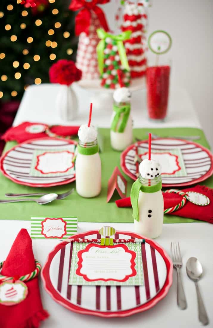 kids Christmas tablescape in red white and green