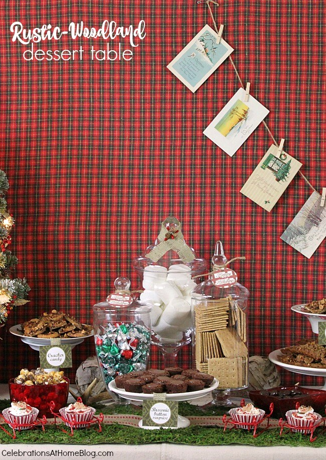 Rustic Woodland Christmas dessert table with homemade treats and recipes to follow.