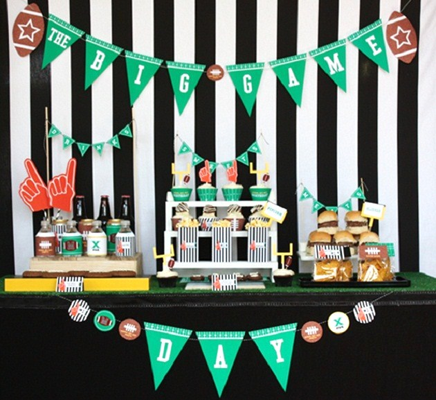 Football party snack table guest feature celebrations at home Game decoration