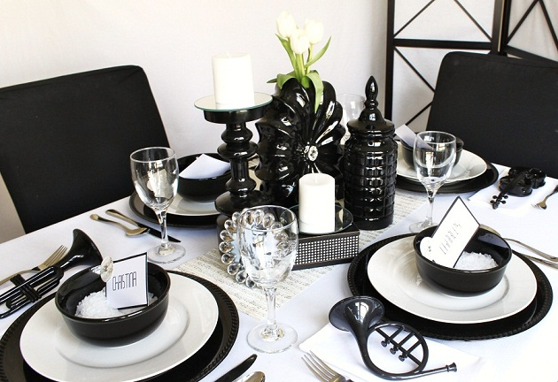 black and white party theme decorations pictures