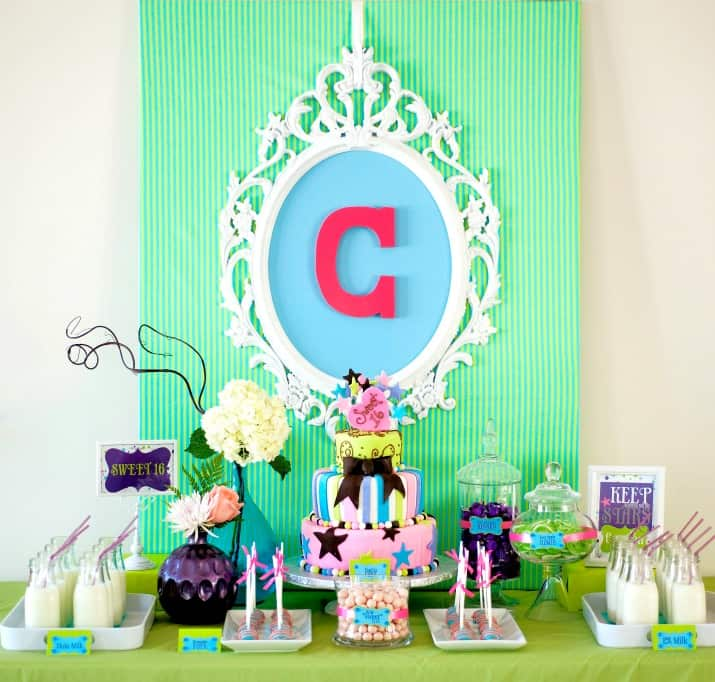 Sweet 16 party sweets table