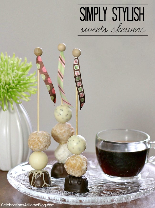 Make your own dessert skewers for festive celebrations like showers, birthdays, and a special Valentines day themed skewer too!