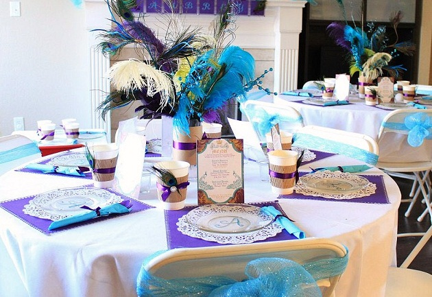 Peacock princess birthday party celebrations at home Party table setting decoration