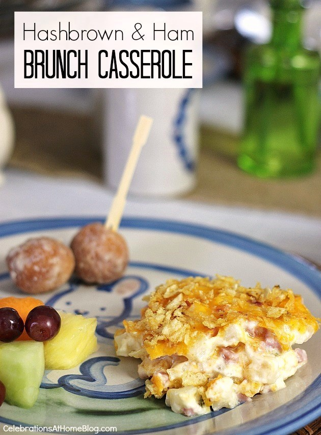 hashbrown ham brunch casserole on plate