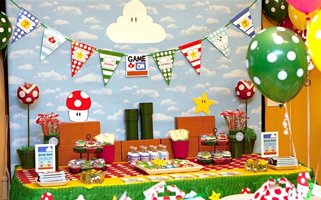Mario themed birthday party guest feature celebrations at home Game decoration