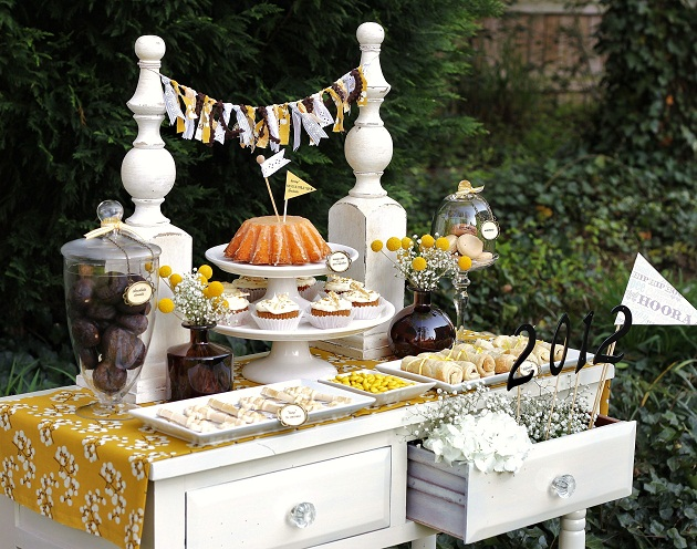 "shabby chic dessert table - Graduation party ""keys to success"" theme"
