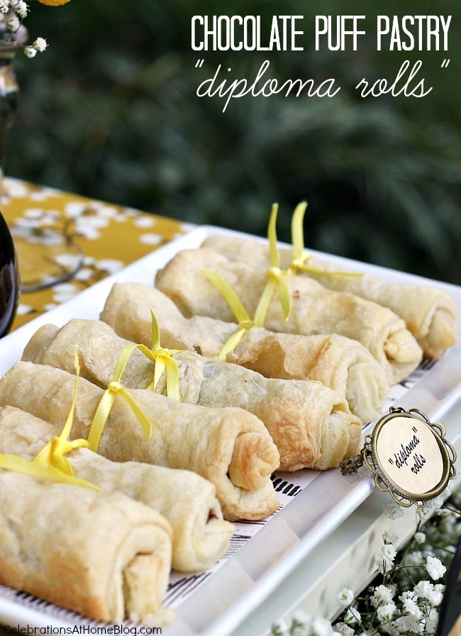 "chocolate puff pastry rolls - ""diploma rolls"" for a graduation party"