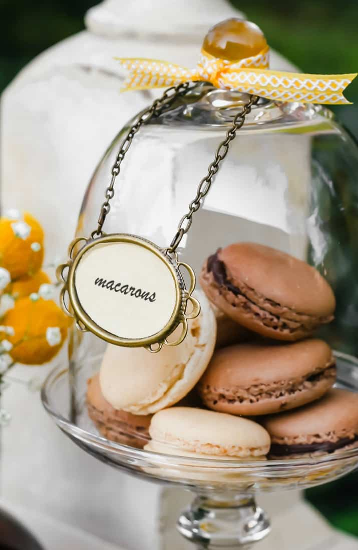 chocolate and vanilla macarons under glass dome