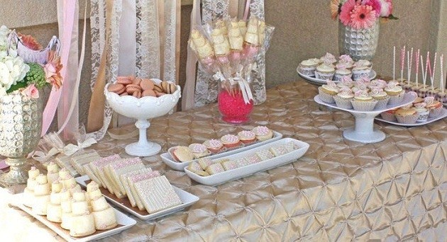 Romantic bridal shower dessert table guest feature for Ideas for bridal shower table decorations