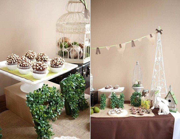 A beautiful garden inspired dessert table in green and brown is a great addition to any spring celebration. See this lovely guest feature here.