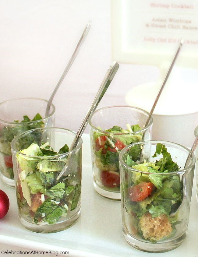9 simple ideas to dress up food for entertaining - serve mini salads in shot glasses for a cocktail party.