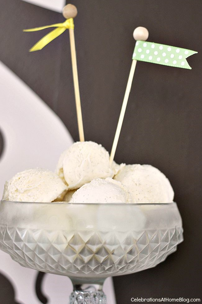 9 simple ideas to dress up food for entertaining - pre-scoop ice cream and top with a flag embellishment.