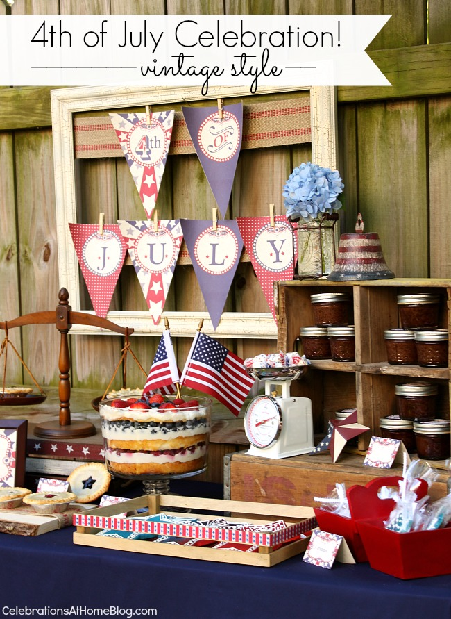 4th of July vintage style party design