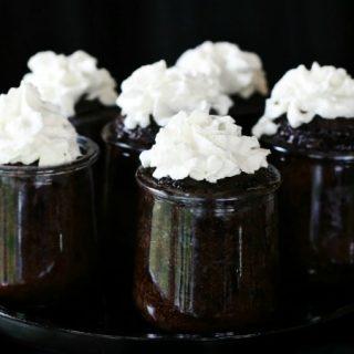chocolate lava cakes in jars recipe card