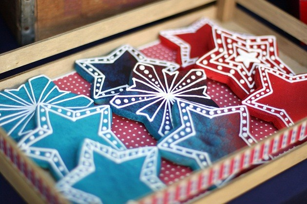 4th of July party ideas, decorated star cookies